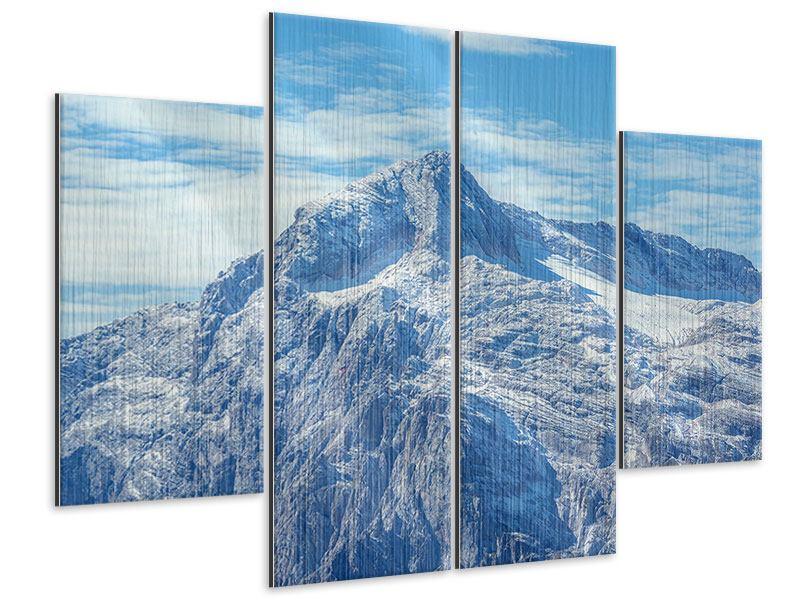 Metallic-Bild 4-teilig Friedliche Bergstimmung