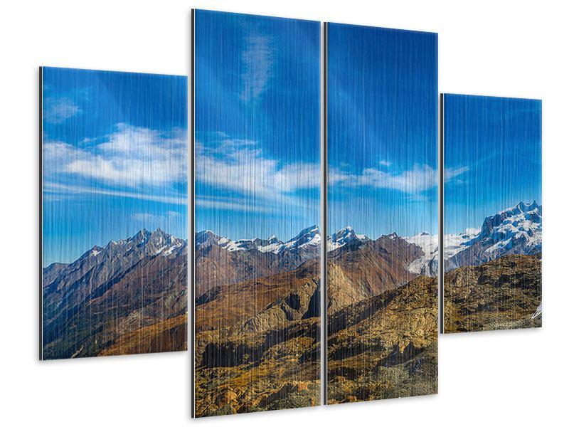 Metallic-Bild 4-teilig Schweizer Alpen im Frühling