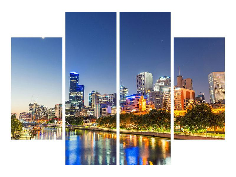 Metallic-Bild 4-teilig Skyline Sydney in der Abenddämmerung