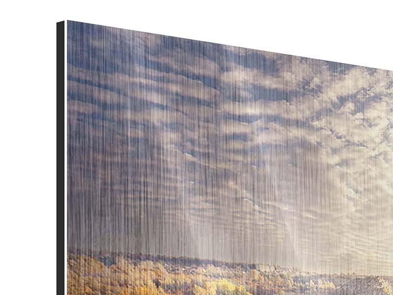 Metallic-Bild 4-teilig Sonnenaufgang am Fluss