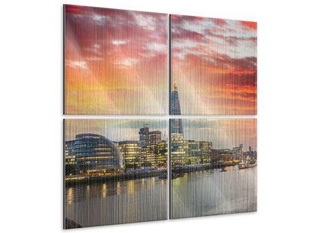 Metallic-Bild 4-teilig Skyline London im Abendrot