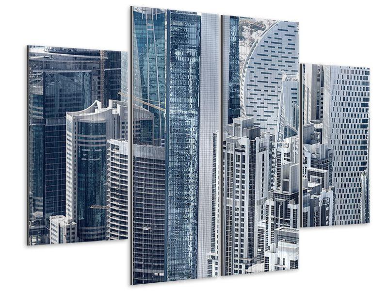 Metallic-Bild 4-teilig Die Wolkenkratzer von Dubai