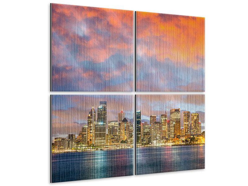 Metallic-Bild 4-teilig Skyline Das Lichtermeer von Sydney