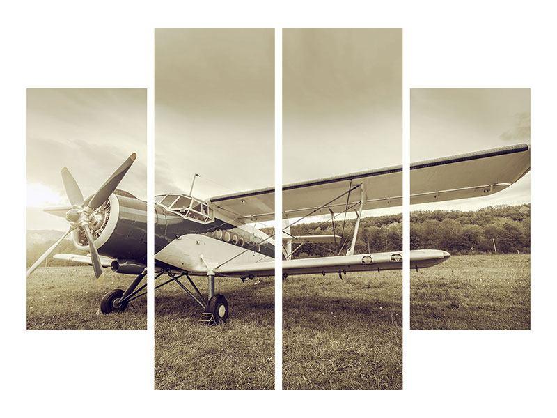 Metallic-Bild 4-teilig Nostalgisches Flugzeug im Retrostyle