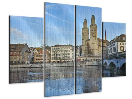 Metallic-Bild 4-teilig Die Altstadt von Zürich
