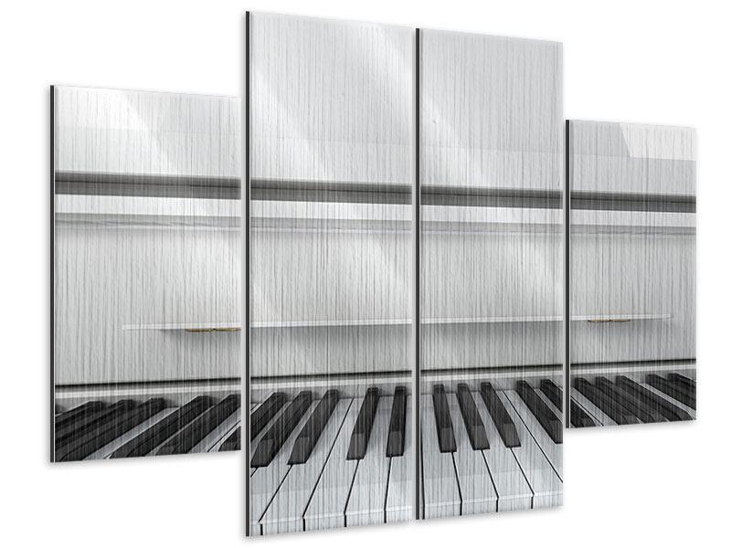 Metallic-Bild 4-teilig Weisser Flügel