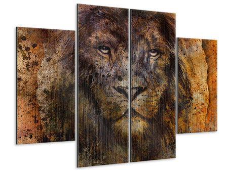 Metallic-Bild 4-teilig Portrait eines Löwen
