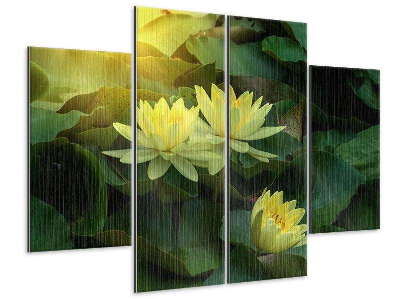Metallic-Bild 4-teilig Wilde Lotus
