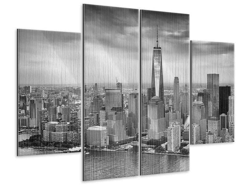 metallic bild 4 teilig skyline schwarzweissfotografie new york. Black Bedroom Furniture Sets. Home Design Ideas