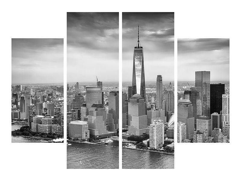 Metallic-Bild 4-teilig Skyline Schwarzweissfotografie New York