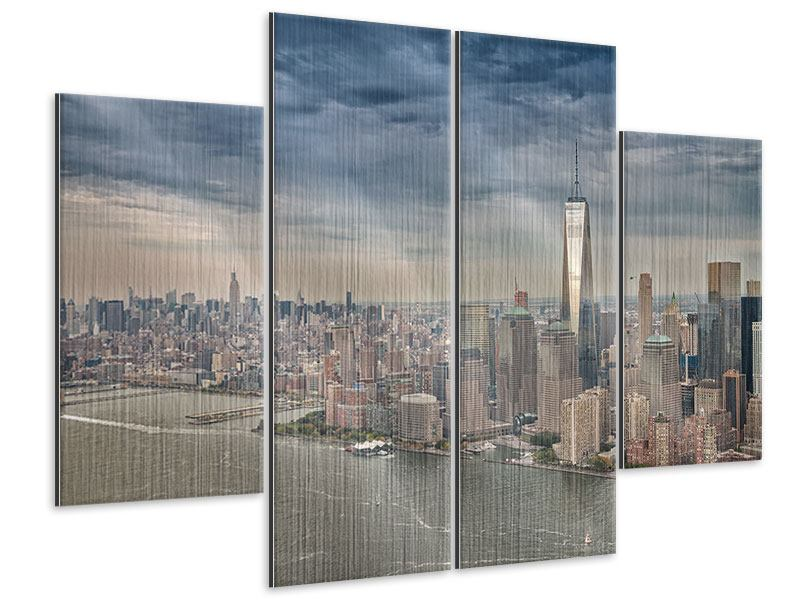 Metallic-Bild 4-teilig Skyline Manhattan