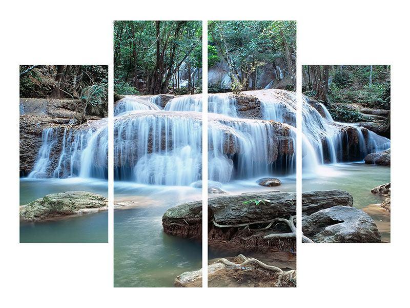 Metallic-Bild 4-teilig Ein Wasserfall