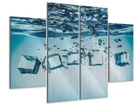 Metallic-Bild 4-teilig Eiswürfel-Quadro