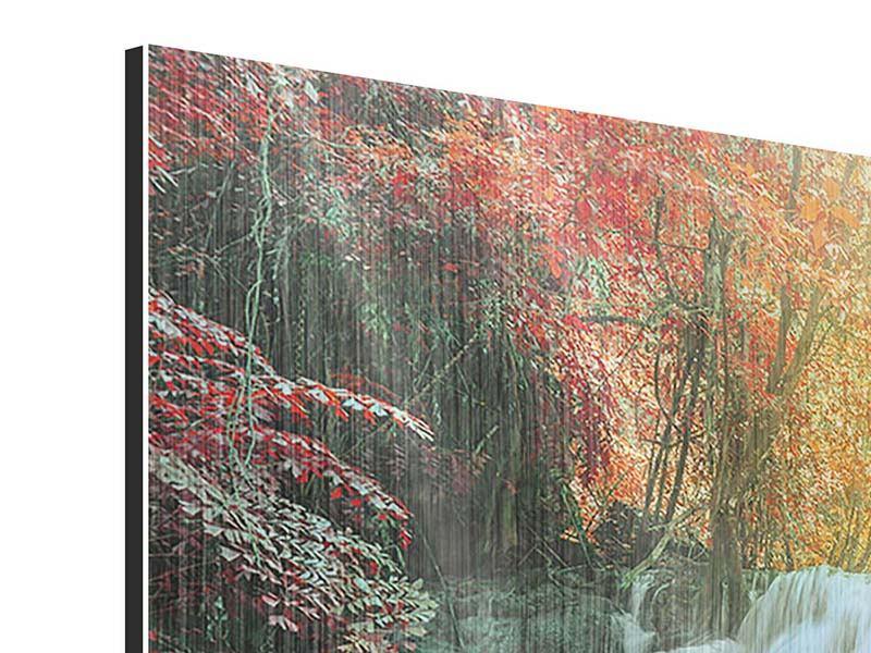 Metallic-Bild 4-teilig Wasserfall im Licht