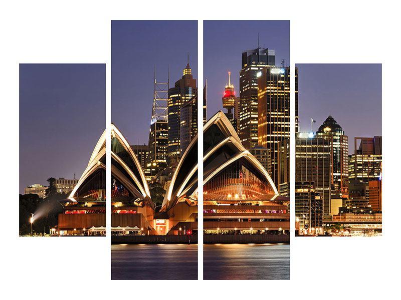 Metallic-Bild 4-teilig Skyline Mit dem Boot vor Sydney