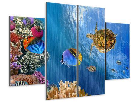 Metallic-Bild 4-teilig Fisch im Wasser
