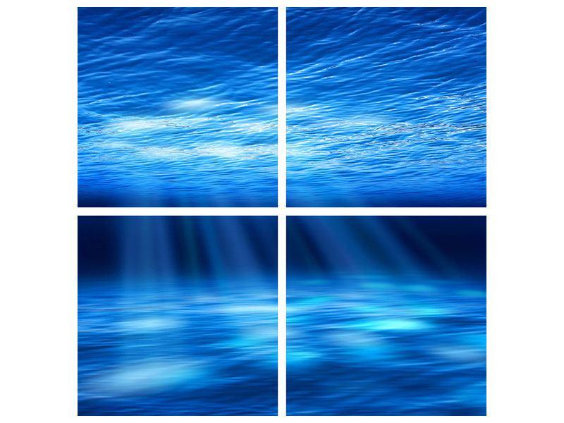 Metallic-Bild 4-teilig Licht unter Wasser