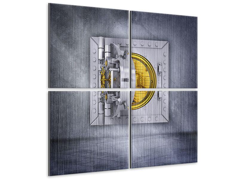 Metallic-Bild 4-teilig Gefüllter Tresor