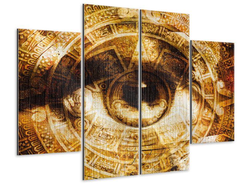 Metallic-Bild 4-teilig Fraktales Auge