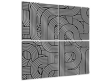 Metallic-Bild 4-teilig 3D Black & White