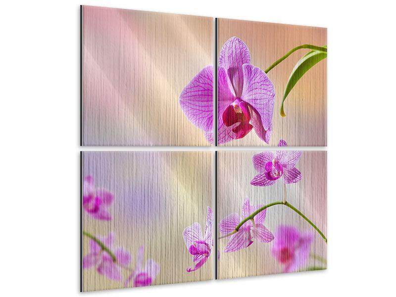 Metallic-Bild 4-teilig Romantische Orchideen