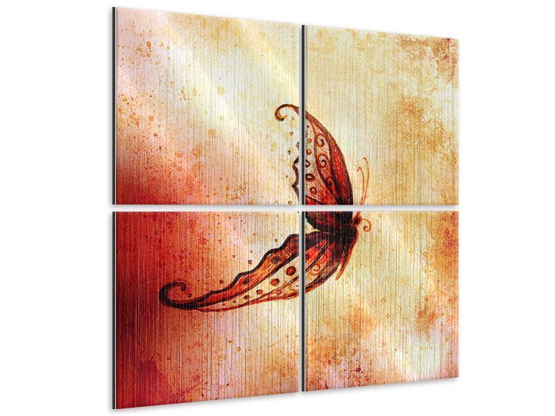 Metallic-Bild 4-teilig Butterfly Gemälde