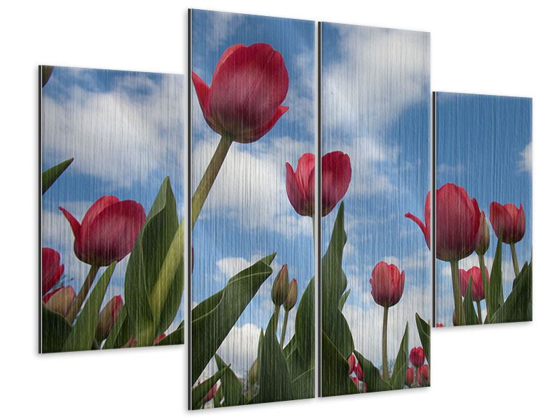 Metallic-Bild 4-teilig Tulpen im Himmel