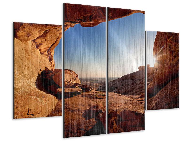 Metallic-Bild 4-teilig Sonnenuntergang vor der Höhle
