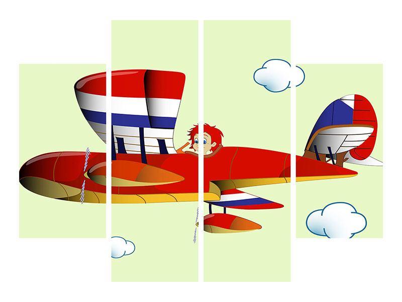 Metallic-Bild 4-teilig Der fliegende Junge