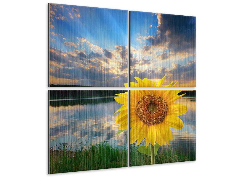 Metallic-Bild 4-teilig Sonnenblume am See