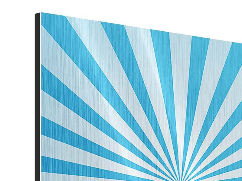 Metallic-Bild 4-teilig Retrowelle Streifenperspektive