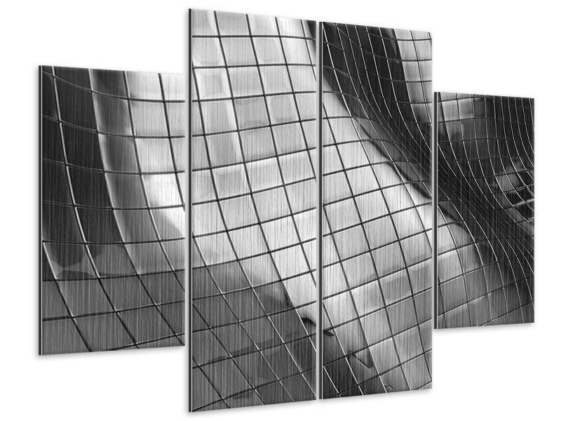 Metallic-Bild 4-teilig Abstrakter Stahl