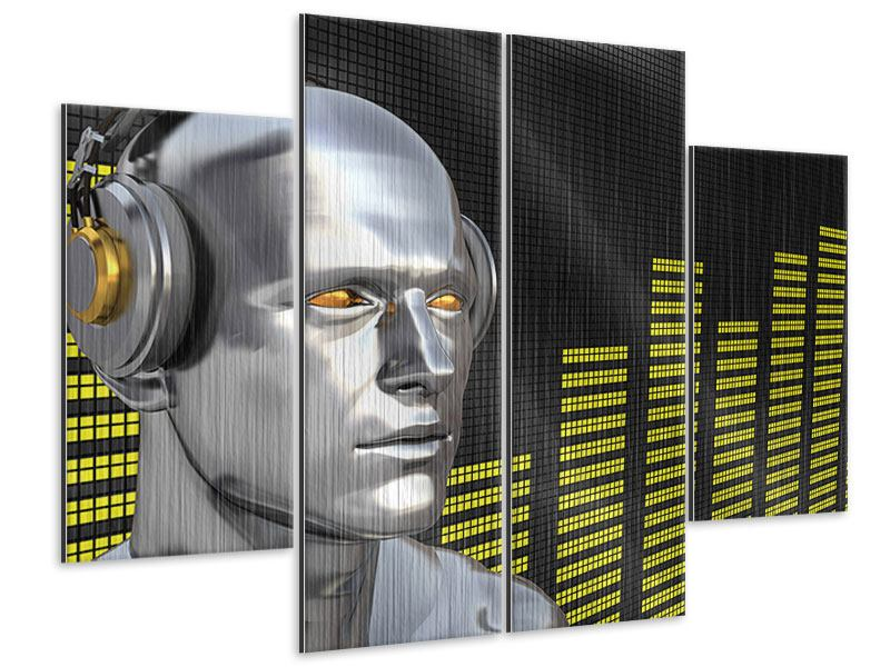 Metallic-Bild 4-teilig Futuristischer DJ