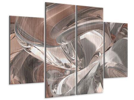 Metallic-Bild 4-teilig Abstraktes Glasfliessen