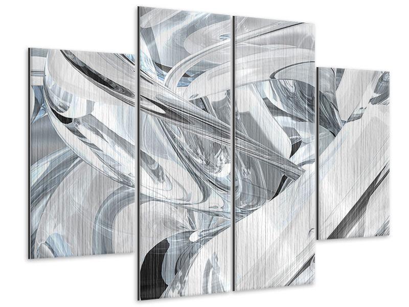 Metallic-Bild 4-teilig Abstrakte Glasbahnen