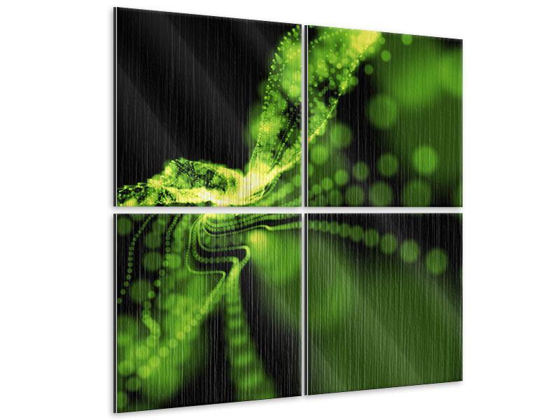 Metallic-Bild 4-teilig Grünes Lichterspiel