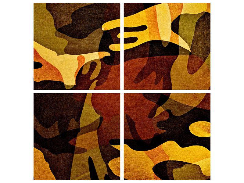 Metallic-Bild 4-teilig Military