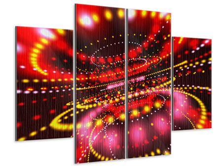 Metallic-Bild 4-teilig Abstraktes Lichtspiel