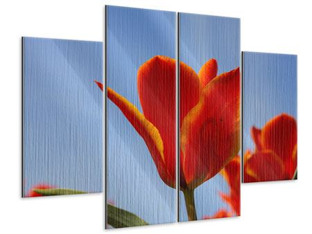 Metallic-Bild 4-teilig Rote Tulpen in XXL