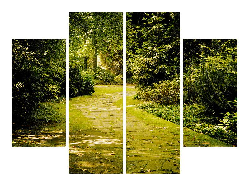 Metallic-Bild 4-teilig Der bemooste Weg