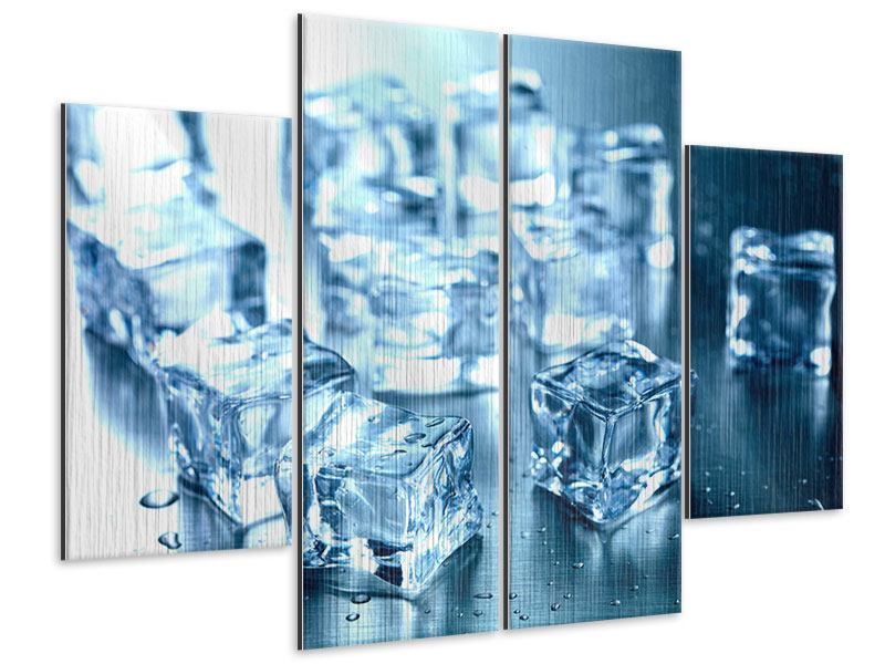 Metallic-Bild 4-teilig Viele Eiswürfel