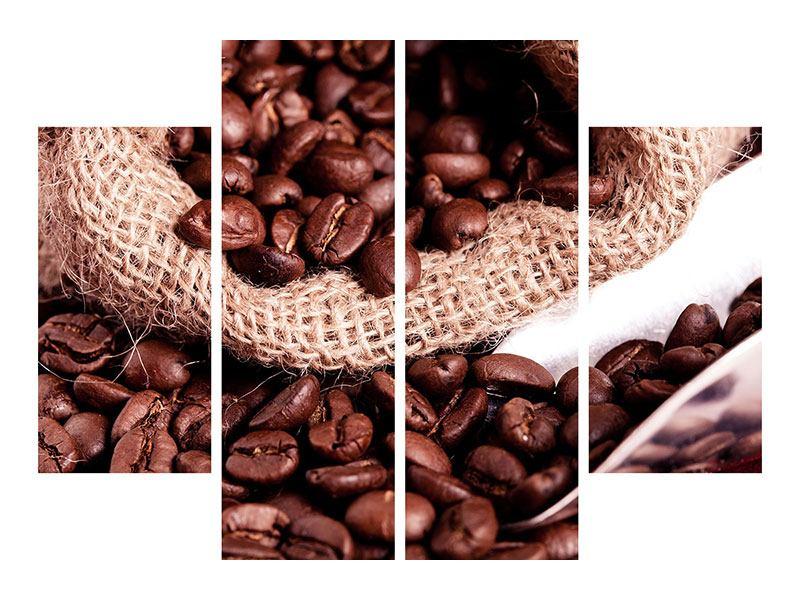 Metallic-Bild 4-teilig XXL Kaffeebohnen