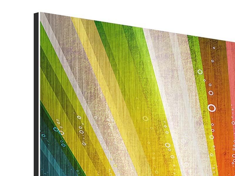 Metallic-Bild 4-teilig Abstrakte Farbstrahlen