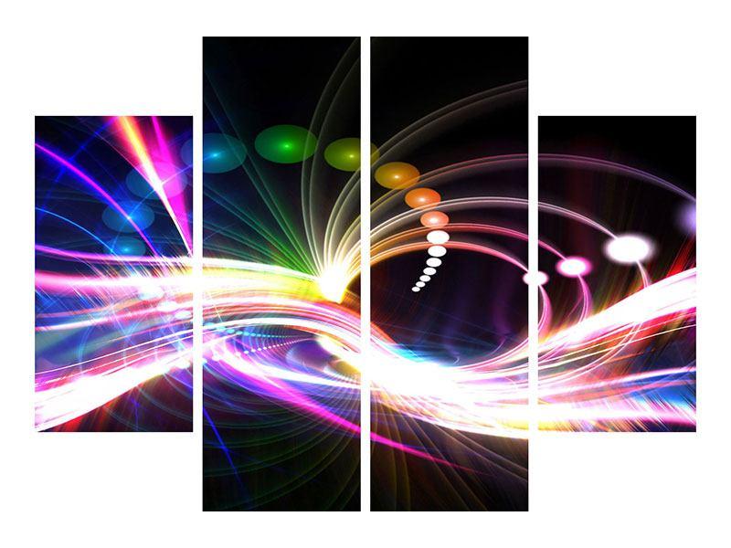 Metallic-Bild 4-teilig Abstrakte Lichtreflexe