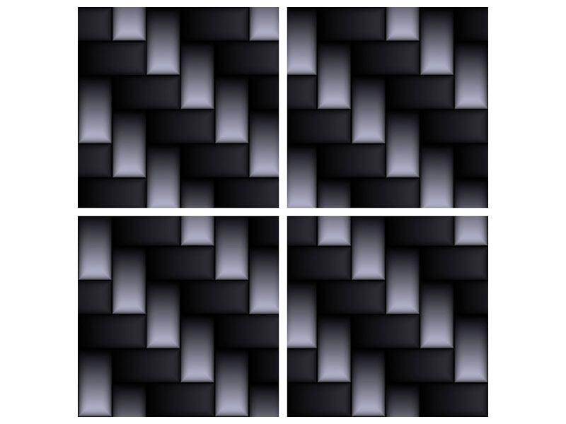 Metallic-Bild 4-teilig 3D-Treppen