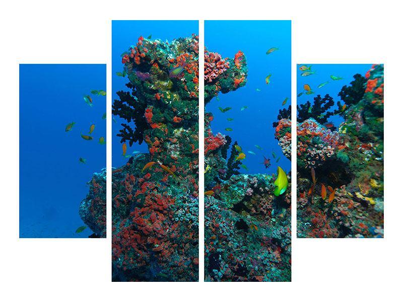 Metallic-Bild 4-teilig Die Welt der Fische
