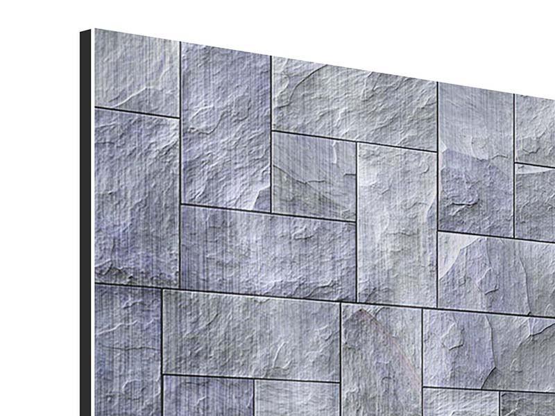 Metallic-Bild 4-teilig Schiefer
