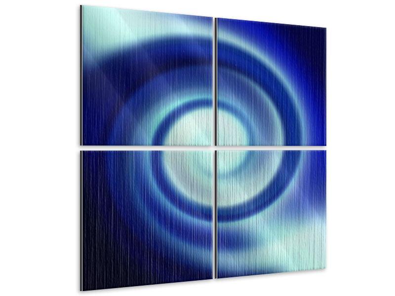 Metallic-Bild 4-teilig Abstrakte Blaue Wirbel