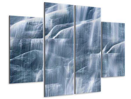 Metallic-Bild 4-teilig Grossartiger Wasserfall
