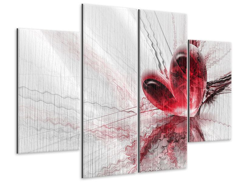 Metallic-Bild 4-teilig Herzspiegelung